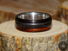 Bentwood Ring - Ebony Wood Ring with Fine Silver Core and Thick Silver Guitar String Inlay - Bentwood Jewelry Designs - Custom Handcrafted Bentwood Wood Rings