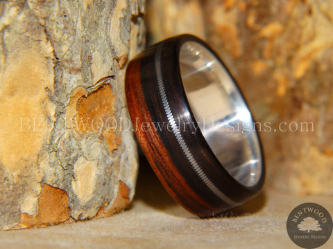 "Tazzy Bentwood Ring - ""Refugee"" Ebony Wood Ring with Stainless Steel Core and Thick Silver Guitar String Inlay"