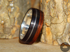 Bentwood Ring - Ebony Wood Ring with Fine Silver Core and Thick Silver Guitar String Inlay - Bentwood Jewelry Designs - Custom Handcrafted Bentwood Wood Rings  - 2