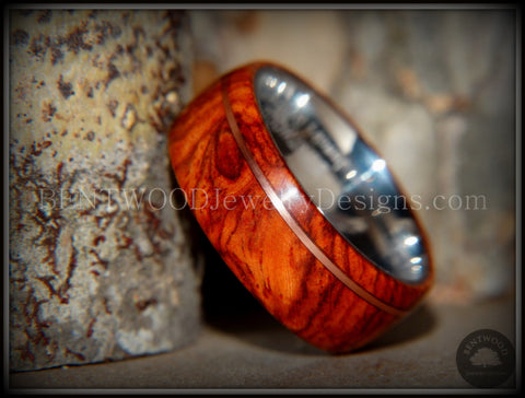 "Bentwood Ring - ""Rarity"" Amboyna Burl Wood Ring on 316L Stainless Steel Comfort Fit Core Copper Inlay"