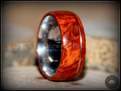 "Bentwood Ring - ""Rarity"" Amboyna Burl Wood Ring on 316L Stainless Steel Comfort Fit Core Copper Inlay - Bentwood Jewelry Designs - Custom Handcrafted Bentwood Wood Rings"