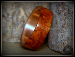 "Bentwood Ring - ""Rarity"" Amboyna Burl Wood Ring with Copper Steel Comfort Fit Metal Core"