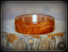 "Bentwood Ring - ""Rarity"" Amboyna Burl Wood Ring with Copper Steel Comfort Fit Metal Core handcrafted bentwood wooden rings wood wedding ring engagement"