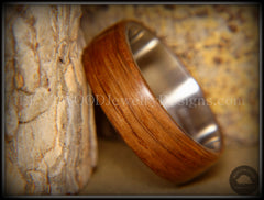 "Bentwood Ring - ""Ancient"" Light Bog Oak on Titanium Core - Bentwood Jewelry Designs - Custom Handcrafted Bentwood Wood Rings  - 1"