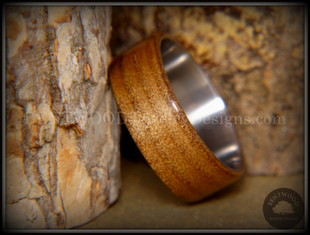 "Bentwood Ring - ""Preserved"" Ancient Kauri on Titanium Core - Bentwood Jewelry Designs - Custom Handcrafted Bentwood Wood Rings"
