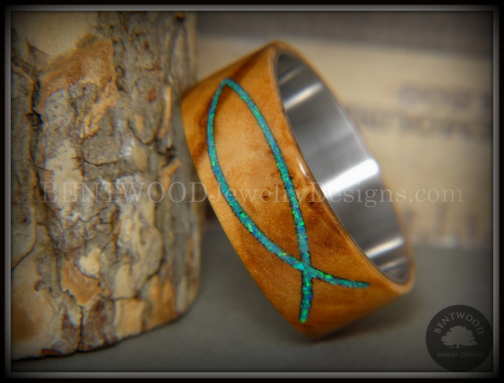 "Bentwood Ring - ""Ichthys"" Exotic Bethlehem Olivewood and Opal Inlay on Titanium handcrafted bentwood wooden rings wood wedding ring engagement"