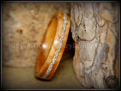 Bentwood Ring - Bethlehem Olive Wood Ring with Silver Glass Inlay - Bentwood Jewelry Designs - Custom Handcrafted Bentwood Wood Rings
