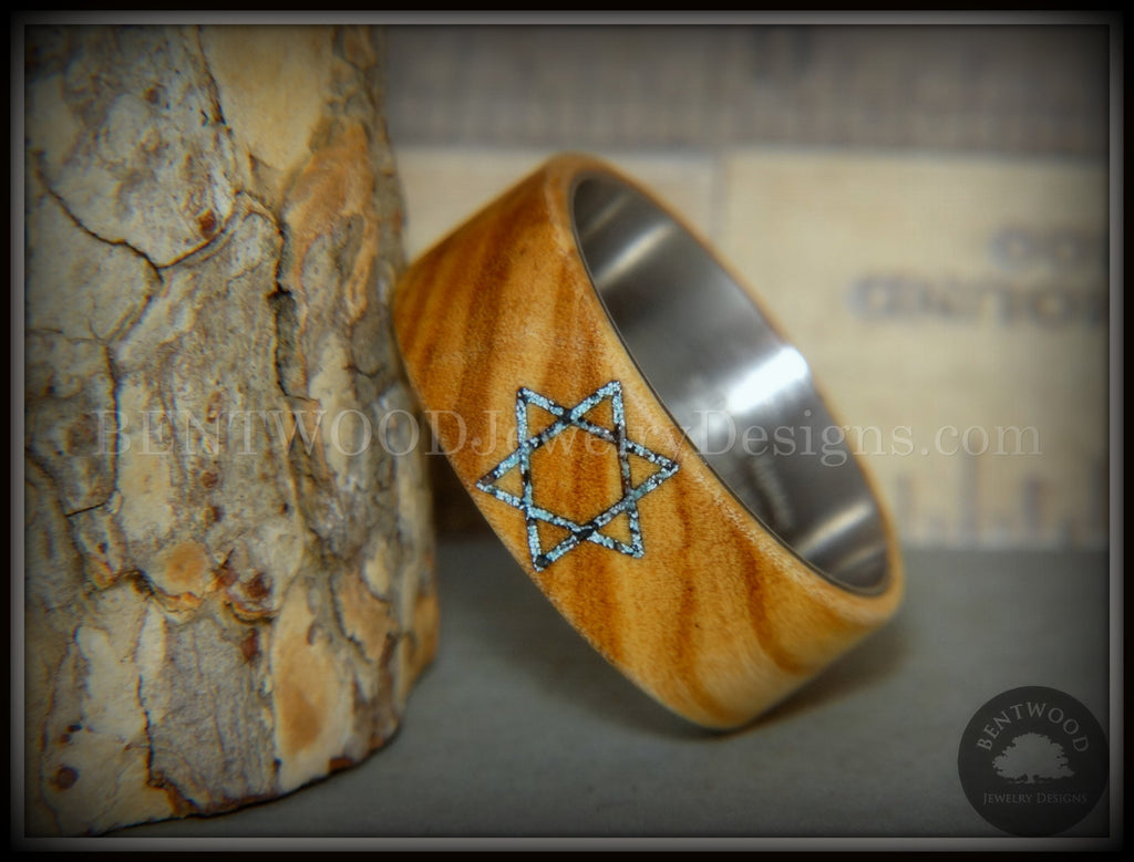 "Bentwood Ring - ""Star of David"" Bethlehem Olivewood with Patina Copper Iron Sands handcrafted bentwood wooden rings wood wedding ring engagement"