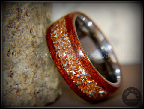 Bentwood Ring - Padauk Wood on Surgical Grade Stainless Steel Core with Amber, Bronze and Silver Glass Inlay