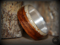 Bentwood Ring - Rosewood and Offset Beach Sand Inlay on Silver Core - Bentwood Jewelry Designs - Custom Handcrafted Bentwood Wood Rings