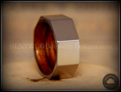 Bentwood Ring - Brushed Stainless Steel Octogon on Bent Rosewood Comfort Fit Core - Bentwood Jewelry Designs - Custom Handcrafted Bentwood Wood Rings