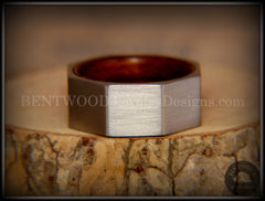 Bentwood Ring - Brushed Stainless Steel Octogon on Bent Rosewood Comfort Fit Core - Bentwood Jewelry Designs - Custom Handcrafted Bentwood Wood Rings  - 3