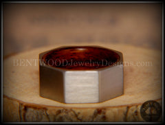 Bentwood Ring - Brushed Stainless Steel Octogon on Bent Rosewood Comfort Fit Core - Bentwood Jewelry Designs - Custom Handcrafted Bentwood Wood Rings  - 4