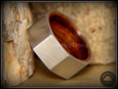 Bentwood Ring - Brushed Stainless Steel Octogon on Bent Rosewood Comfort Fit Core