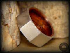Bentwood Ring - Brushed Stainless Steel Octogon on Bent Rosewood Comfort Fit Core - Bentwood Jewelry Designs - Custom Handcrafted Bentwood Wood Rings  - 1