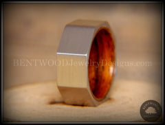 Bentwood Ring - Brushed Stainless Steel Octogon on Bent Rosewood Comfort Fit Core - Bentwood Jewelry Designs - Custom Handcrafted Bentwood Wood Rings  - 6