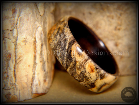 Bentwood Ring - Buckeye Burl on Ebony Wood Ring