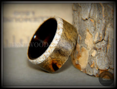 Bentwood Ring - Buckeye Burl on Ebony Beach Sand Inlay Wood Ring - Bentwood Jewelry Designs - Custom Handcrafted Bentwood Wood Rings