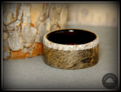Bentwood Ring - Buckeye Burl on Ebony Beach Sand Inlay Wood Ring handcrafted bentwood wooden rings wood wedding ring engagement