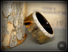 Bentwood ring Buckeye burl ebony beach sand inlay wood wedding ring