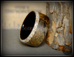 Bentwood ring Buckeye burl ebony beach sand inlay wooden ring