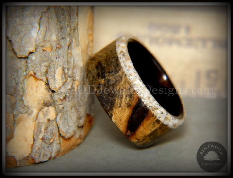 Bentwood Ring - Buckeye Burl on Ebony Beach Sand Inlay Wood Ring