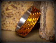 "Bentwood Ring - ""Golden Twill"" Carbon Fiber on Surgical Steel Comfort Fit Core - Bentwood Jewelry Designs - Custom Handcrafted Bentwood Wood Rings  - 2"