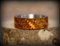 "Bentwood Ring - ""Golden Twill"" Carbon Fiber on Surgical Steel Comfort Fit Core - Bentwood Jewelry Designs - Custom Handcrafted Bentwood Wood Rings  - 3"