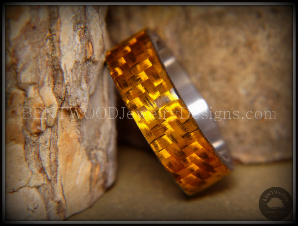 "Bentwood Ring - ""Golden Twill"" Carbon Fiber on Surgical Steel Comfort Fit Core - Bentwood Jewelry Designs - Custom Handcrafted Bentwood Wood Rings  - 1"
