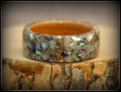 Bentwood Ring - Pau Shell Inlay on Bentwood Cherry Wood Ring - Bentwood Jewelry Designs - Custom Handcrafted Bentwood Wood Rings