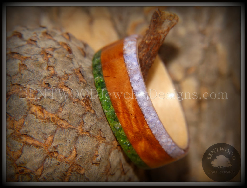 Bentwood Ring - Cherry with Maple Liner and Inlays of Aventurine and Charoite handcrafted bentwood wooden rings wood wedding ring engagement