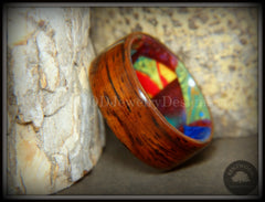"Bentwood Ring - ""Mosaic Shapes"" Cocobolo on Acrylic Marbled Core handcrafted bentwood wooden rings wood wedding ring engagement"
