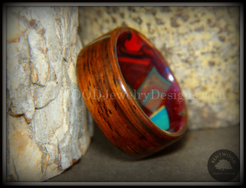 "Bentwood Ring - ""Mosaic Shapes"" Cocobolo on Acrylic Marbled Core"