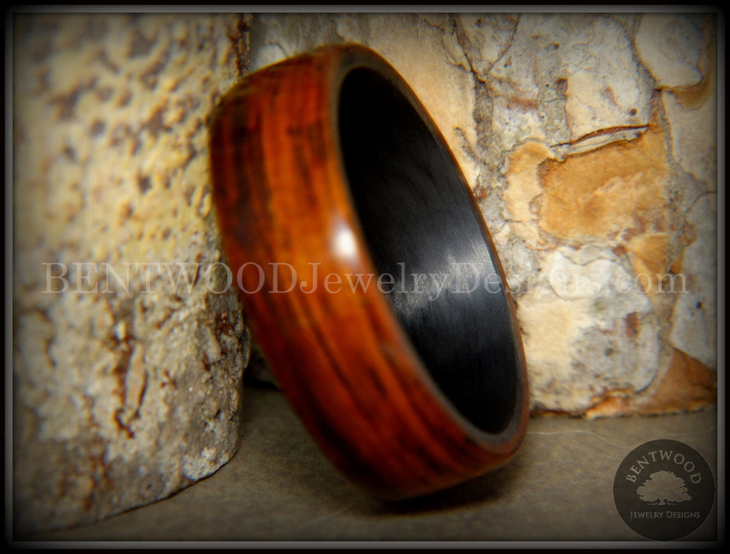 "Bentwood Ring - ""Coco Loco"" Cocobolo Wood on Carbon Fiber Core - Bentwood Jewelry Designs - Custom Handcrafted Bentwood Wood Rings"