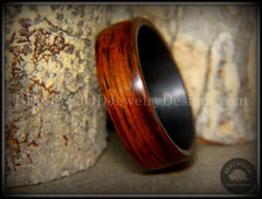 "Bentwood Ring - ""Coco Loco"" Cocobolo Wood on Carbon Fiber Core handcrafted bentwood wooden rings wood wedding ring engagement"