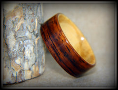 "Bentwood Ring - ""Exotic Union"" Cocobolo on Olivewood Classic Wooden Ring handcrafted bentwood wooden rings wood wedding ring engagement"