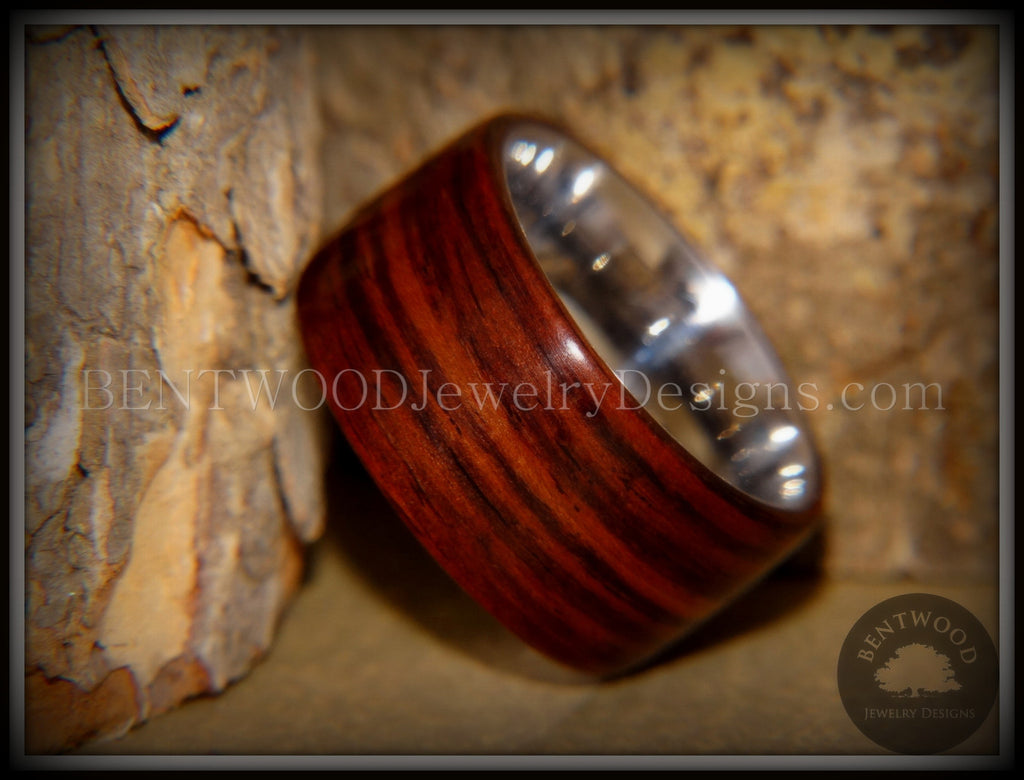 Bentwood Ring - Cocobolo Wood Ring with Surgical Grade Stainless Steel Comfort Fit Metal Core - Bentwood Jewelry Designs - Custom Handcrafted Bentwood Wood Rings  - 1
