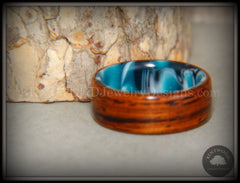 Bentwood Ring - Cocobolo on Acrylic Marbled Core - Bentwood Jewelry Designs - Custom Handcrafted Bentwood Wood Rings