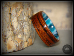 "Bentwood Ring - ""Surf's Up"" Cocobolo on Acrylic Marbled Core handcrafted bentwood wooden rings wood wedding ring engagement"