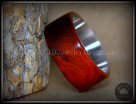 "Bentwood Ring - ""Crimson"" Sandalwood Surgical Steel Core Comfort Fit"