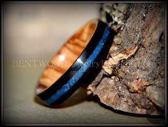 Bentwood Ring - Dark Ebony on Bethlehem Olivewood Core w/ Blue Lapis Inlay - Bentwood Jewelry Designs - Custom Handcrafted Bentwood Wood Rings