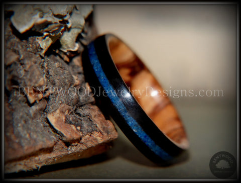 Bentwood Ring - Dark Ebony on Bethlehem Olivewood Core w/ Blue Lapis Inlay