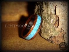 Bentwood Ring - E. Indian Rosewood Ring with Turquoise Inlay - Bentwood Jewelry Designs - Custom Handcrafted Bentwood Wood Rings