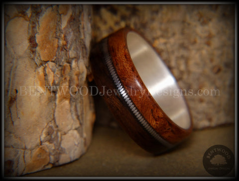 Bentwood Ring - Waterfall Bubinga and Ebony Wood Ring on Fine Silver Core with Silver Guitar String Inlay