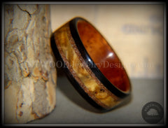 "Bentwood Ring - ""Great Lakes"" Amboyna Burl and Ebony on Mahogany Liner with Beach Sand Inlays - Bentwood Jewelry Designs - Custom Handcrafted Bentwood Wood Rings"
