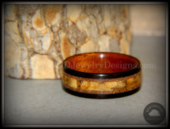 "Bentwood Ring - ""Great Lakes"" Amboyna Burl and Ebony on Mahogany Liner with Beach Sand Inlays handcrafted bentwood wooden rings wood wedding ring engagement"