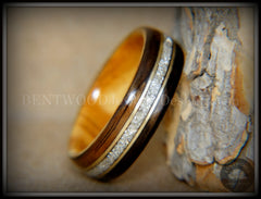 "Bentwood Ring - ""Tracks"" Ebony Wood Ring Gold Wire and Glass Inlay handcrafted bentwood wooden rings wood wedding ring engagement"