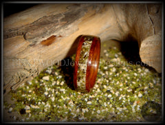 Bentwood Rings - Santos Rosewood Wood Ring with Hawaiian Papakolea Olivine Beach Sand Inlay - Bentwood Jewelry Designs - Custom Handcrafted Bentwood Wood Rings  - 5
