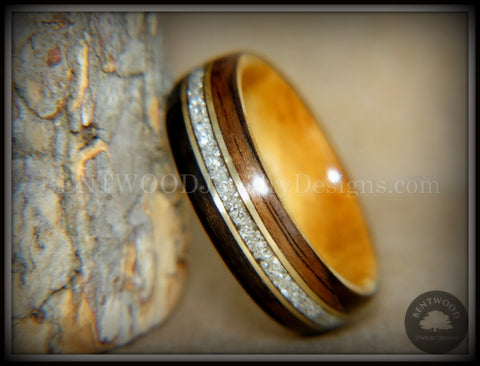 "Bentwood Ring - ""Tracks"" Ebony Wood Ring Gold Wire and Glass Inlay"