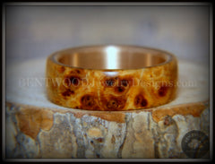 "Bentwood Ring - ""Rarity"" Afzelia Burl Wood Ring with Bronze Steel Comfort Fit Metal Core handcrafted bentwood wooden rings wood wedding ring engagement"